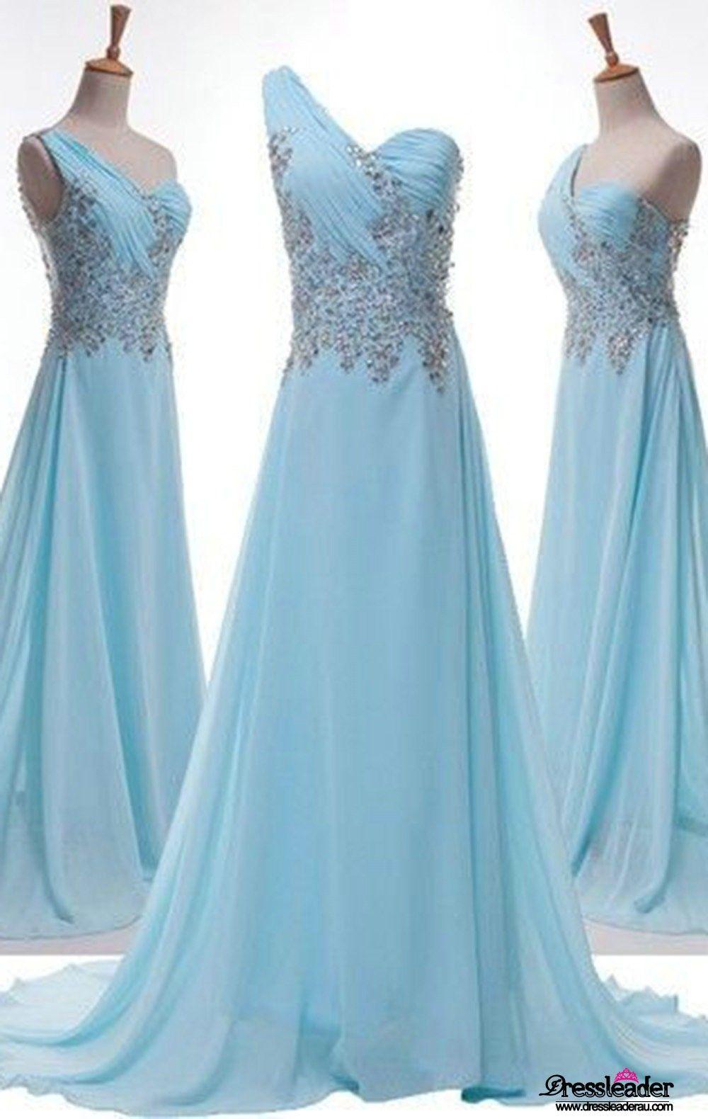Blue One Shoulder Crystal Long A Line Formal Dress Lcau0044 | Real ...