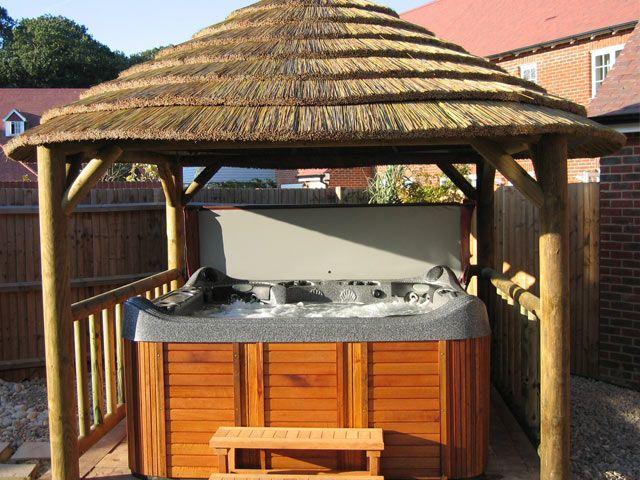 tiki hot tub thatched hot tub gazebos enclosures and shelters gallery images - Hot Tub Enclosures