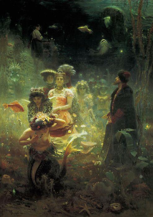 liquidnight:     Ilya Yefimovich Repin  Sadko in the Underwater Kingdom, oil on canvas, 1876  [via { feuilleton }]