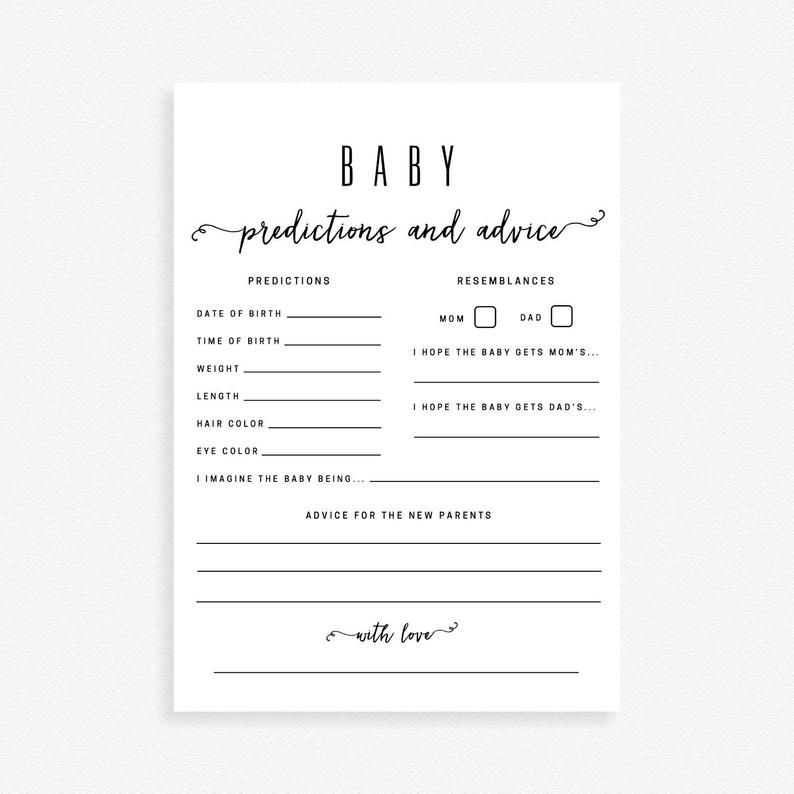 Baby Predictions And Advice Cards Baby Shower Predictions Etsy In 2021 Baby Prediction Baby Shower Advice Cards Advice Cards