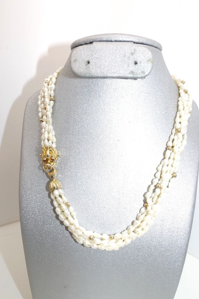Vintage Freshwater Pearls Gold Beads Dragon Face Clasp W