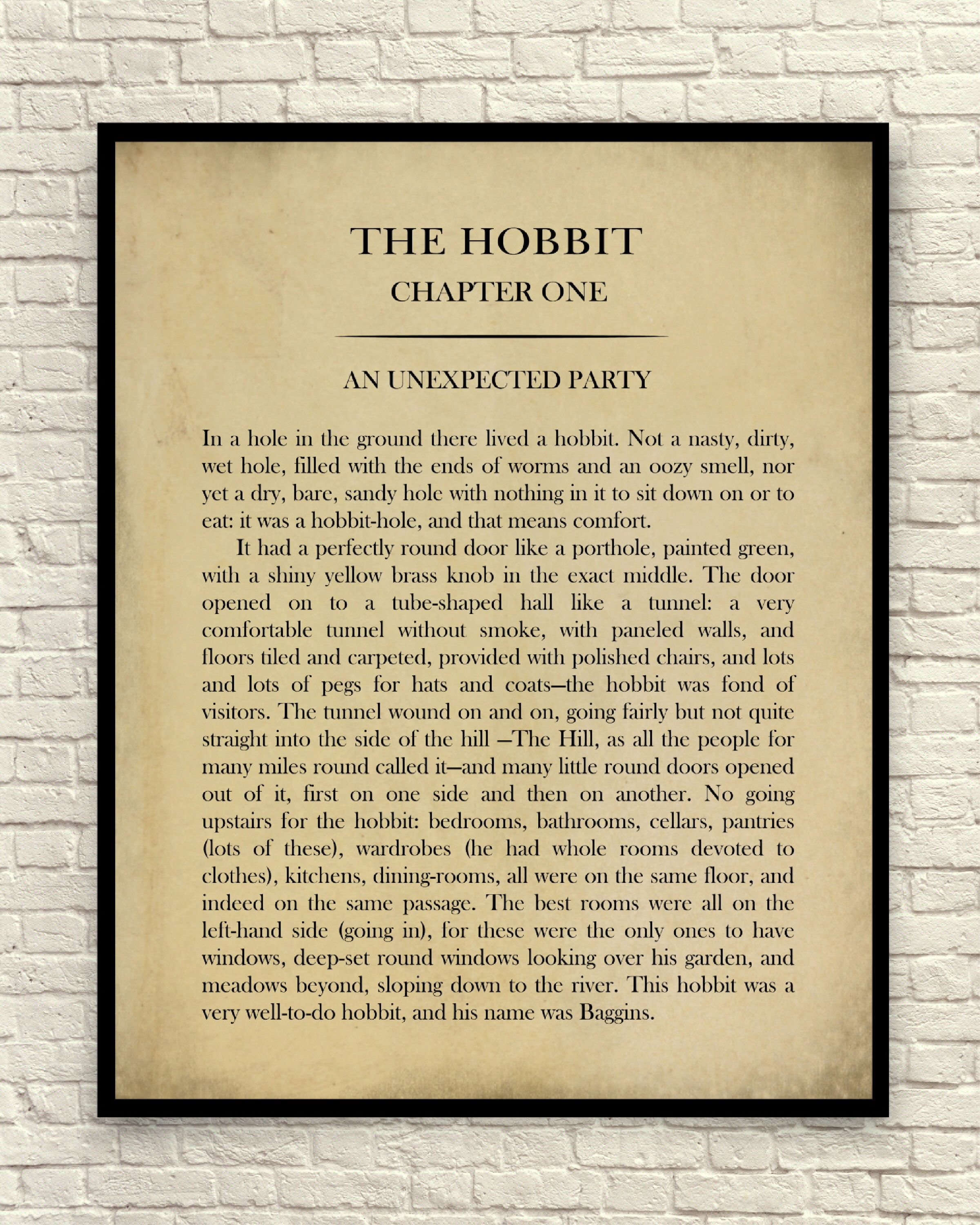 The Hobbit Art Print, The Hobbit Wall Art, Book Page Art Print ...