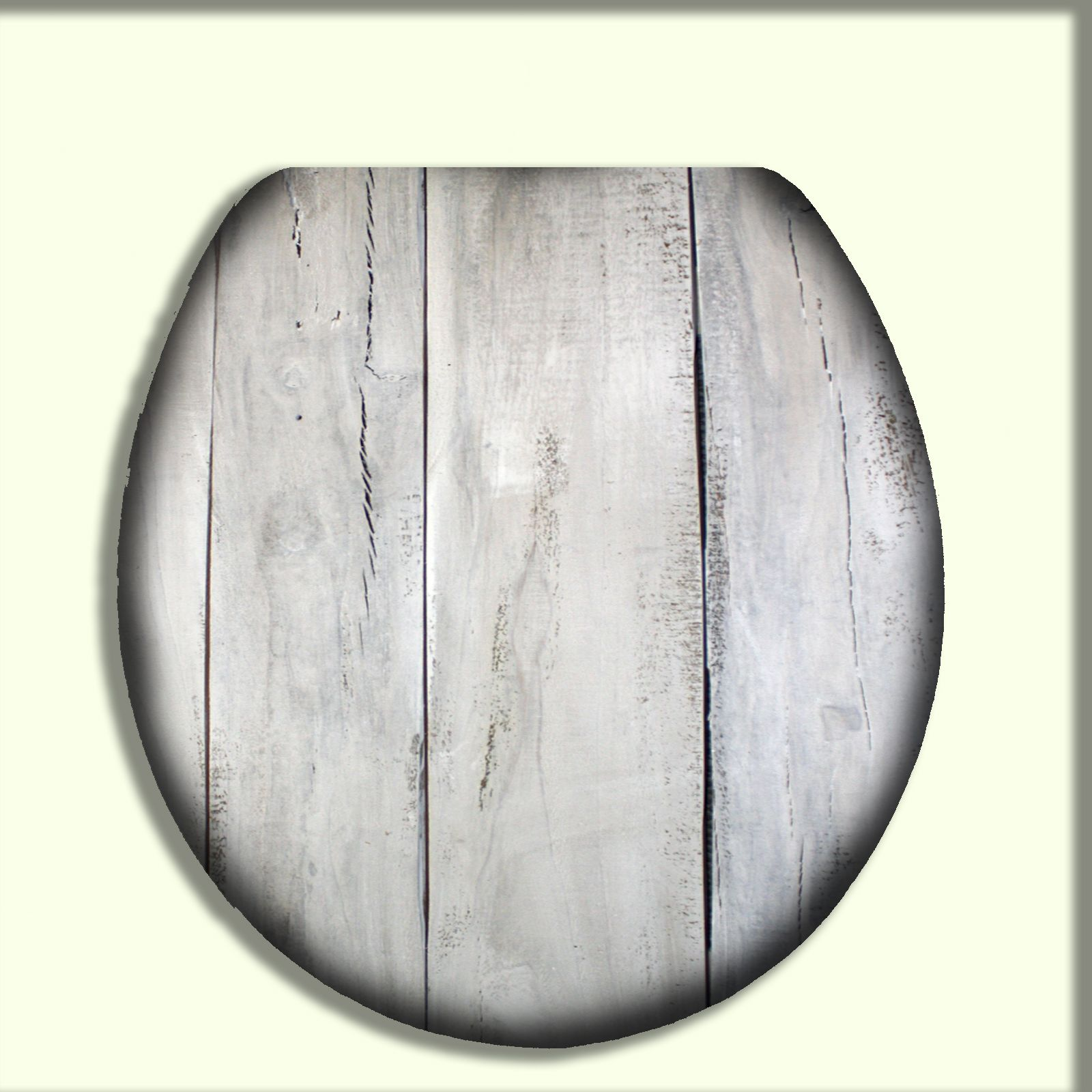 Heavy duty Metal Hinges Round Wooden Toilet seats with Stone Design White