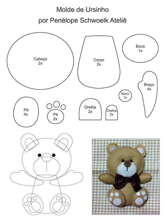 DIY Felt Bear - FREE Sewing Pattern | Fieltro | Pinterest | Fieltro ...