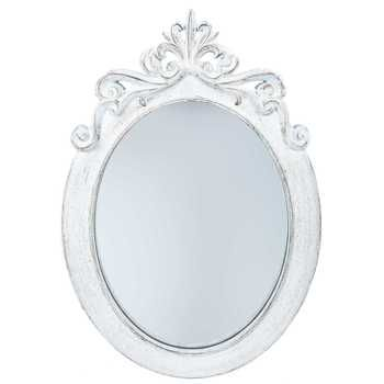 Distressed White Ornate Oval Wall Mirror Oval Mirror Shabby Chic Bathroom White Shabby Chic
