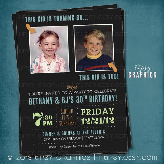 Joint milestone surprise birthday party invite double party joint milestone surprise birthday party invite double party perfect with old school baby photos by tipsy graphics any ages any colors stopboris Images