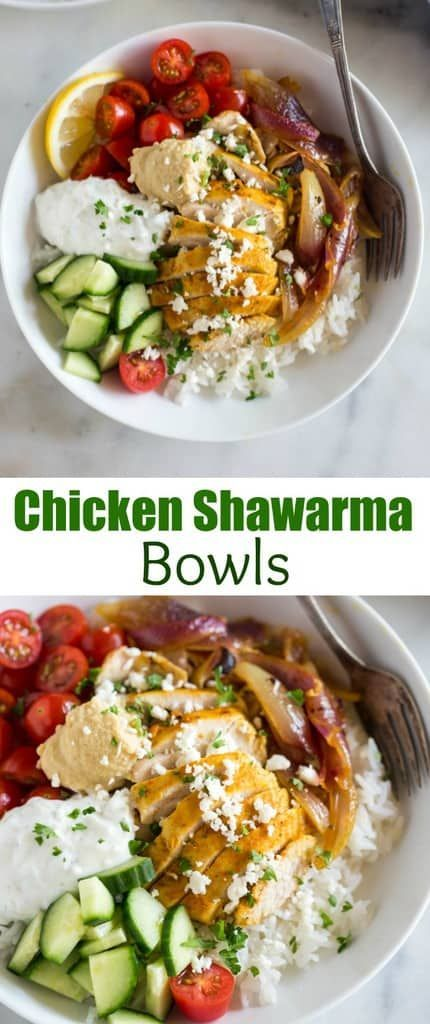 Chicken shawarama made from home and transformed into a delicious middle-eastern bowl! This healthy dinner is a WINNER with marinated chicken, tzatziki sauce, hummus, chopped veggies and served over jasmine rice. #chicken #shawarma #greek #middleeastern #tzatziki #hummus #healthy #dinner #easy #bowl via @betrfromscratch