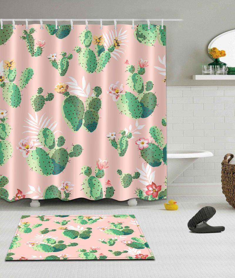 Waterproof Bathroom Decor Shower Curtain 12 Hooks Bath Mat Cactus
