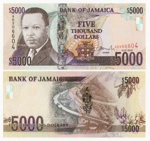 Jamaica currency - $5000 bill