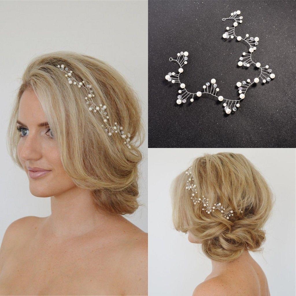 women pearl wedding flower accessories hair band hair pins clips