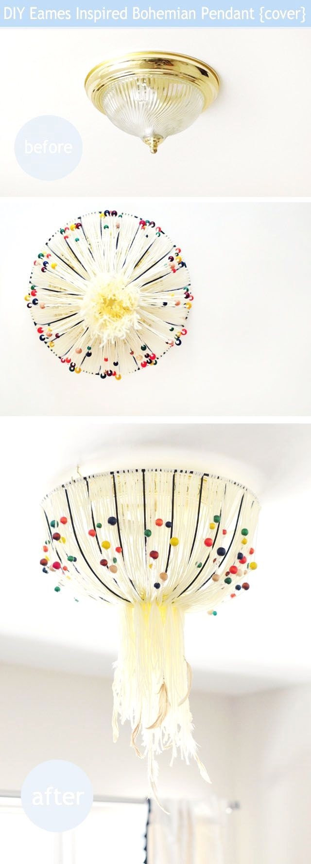 Diy Eames Inspired Bohemian Pendant Lamp To Cover Old Ugly Ceiling Rewiring Fixtures Without Any