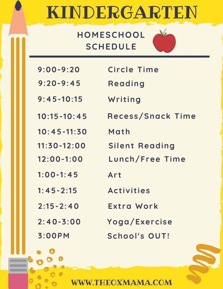 Homeschool Kindergarten Schedule And Curriculum Homeschool