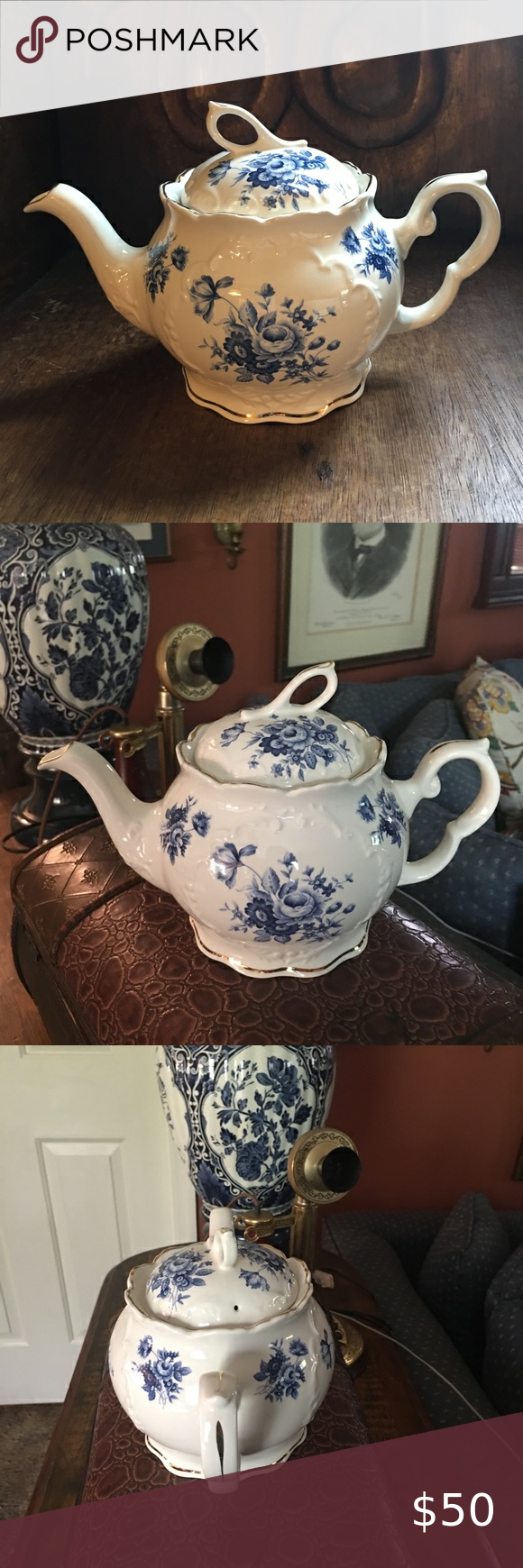 Crown Dorset Staffordshire England Tea Pot Crown Dorset Staffordshire England tea pot. Beautiful blue and cream white with gold trim!! Would be a beautiful gift to anyone or fantastic for collector. Christmas 🌲 is coming!! Crown Dorset Kitchen Coffee & Tea Accessories