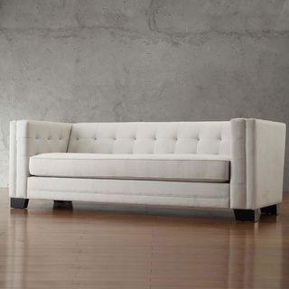 INSPIRE Q Hamilton White Linen Button Tufted Sofa | Overstock.com Shopping    The