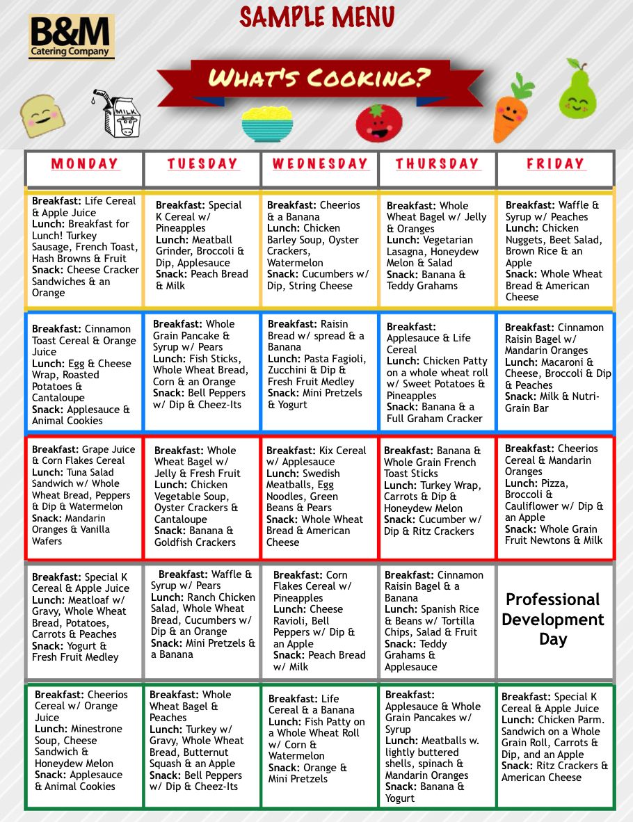 sample menu for childcare lunches, southern new england catering
