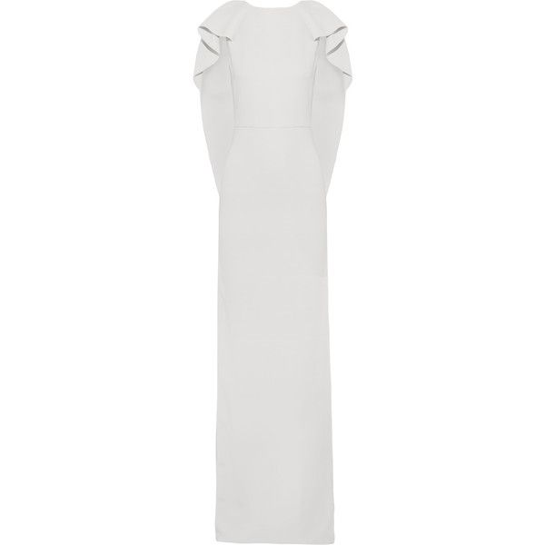 Antonio Berardi Layered crepe gown (€585) ❤ liked on Polyvore featuring dresses, gowns, light gray, long length dresses, crepe dress, long gowns, crepe gown and layered dress