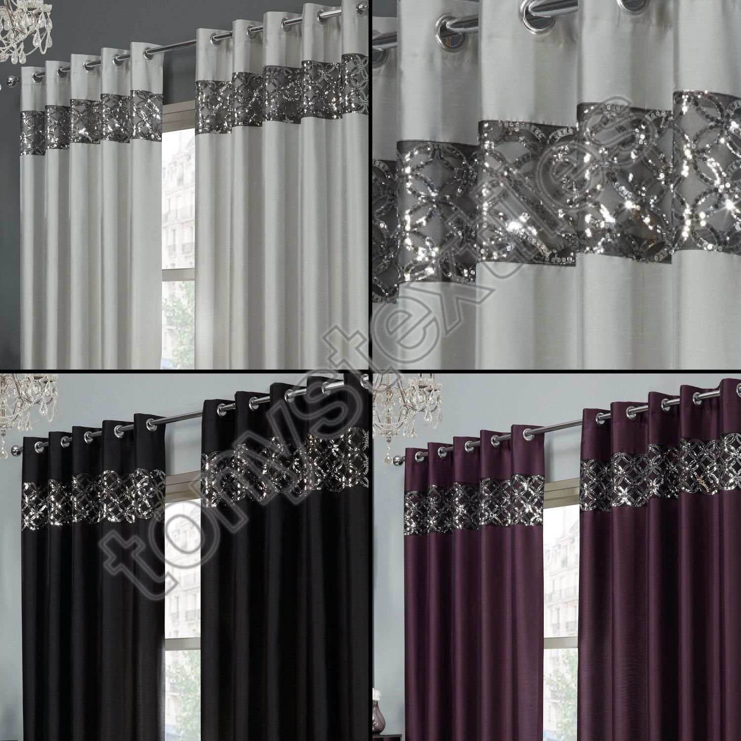Tony S Textiles Rio Curtain Panels With Grommets Embroidered Sequins Border Ebay Silver Curtains Black And Silver Curtains Curtains