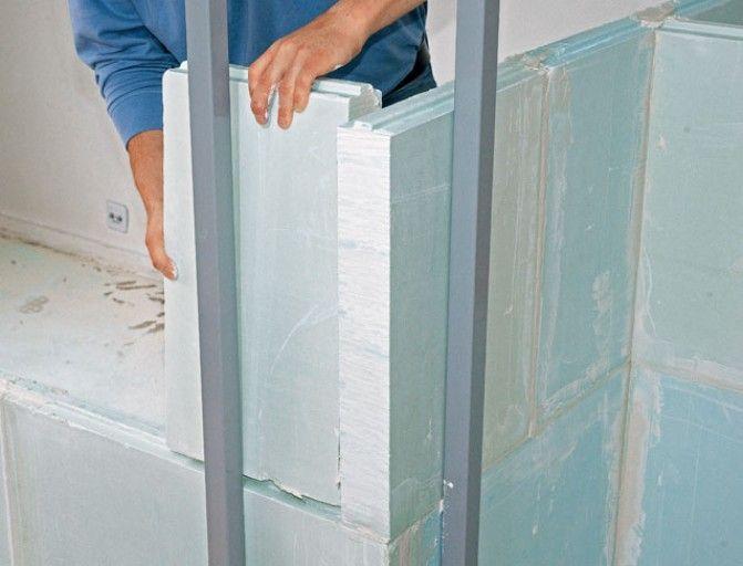 Cloison  monter un angle en carreaux de plâtre et béton cellulaire - doublage des murs interieurs
