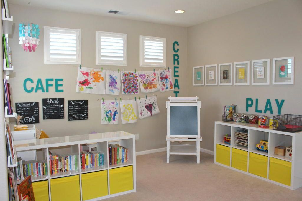 "Photo of Playroom kitchen toy coined ""cafe"", love it. #HomeWallDecor"