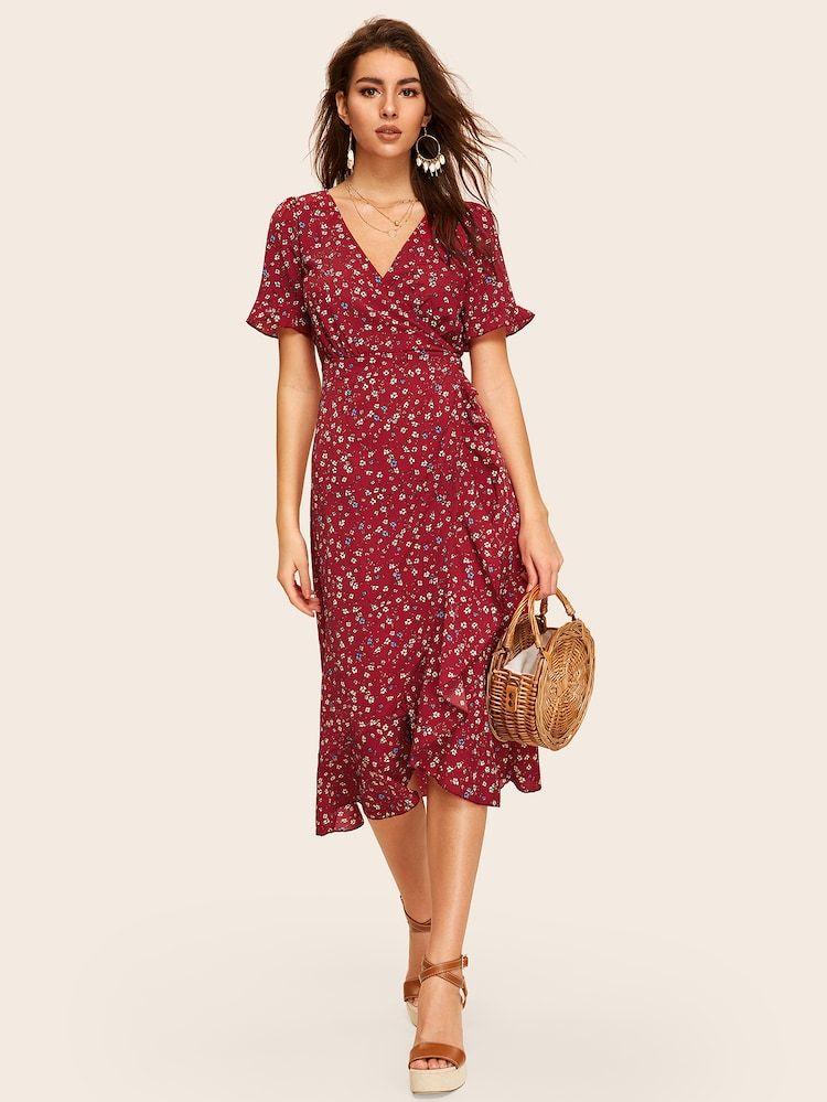 Ditsy Floral Tie Back Wrap Dress Shein Uk Flared Denim Dress Dresses Floral Dresses Uk