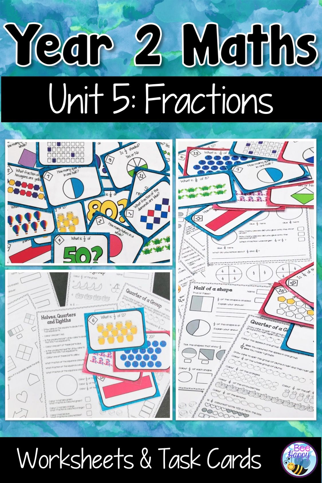 Australian Curriculum Fractions Worksheets and Task Cards Year 2 ...
