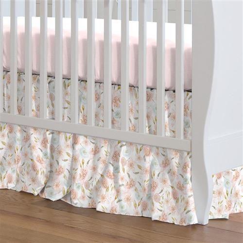 Pink Hawaiian Floral Crib Skirt Gathered In 2020 Crib Skirts Baby Crib Sheets Cribs