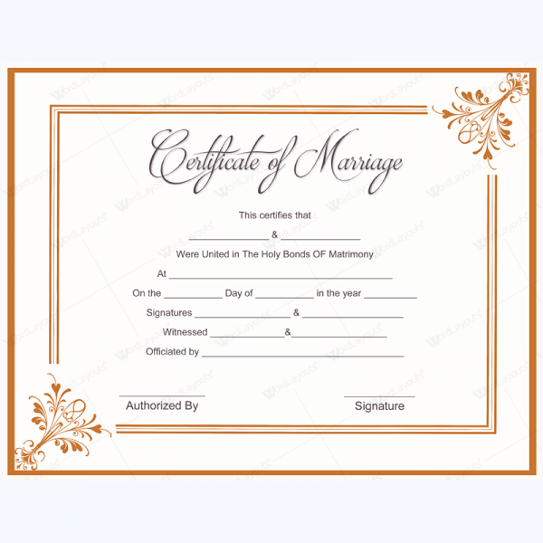 Sample Of Marriage Certificate Template blankcertificate – Sample Marriage Certificate