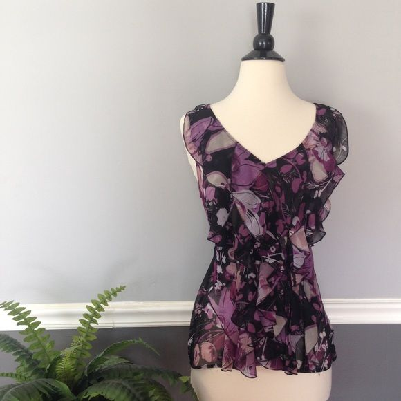 New York & Company Ruffled Top New York & Company Sheer Purple/Black Floral Ruffled Top with Tie Around Waist, Size S New York & Company Tops Blouses