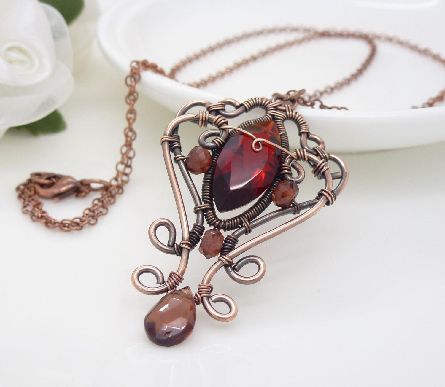 il necklace listing birthstone red meteorite jewelry january large garnet pendant fullxfull