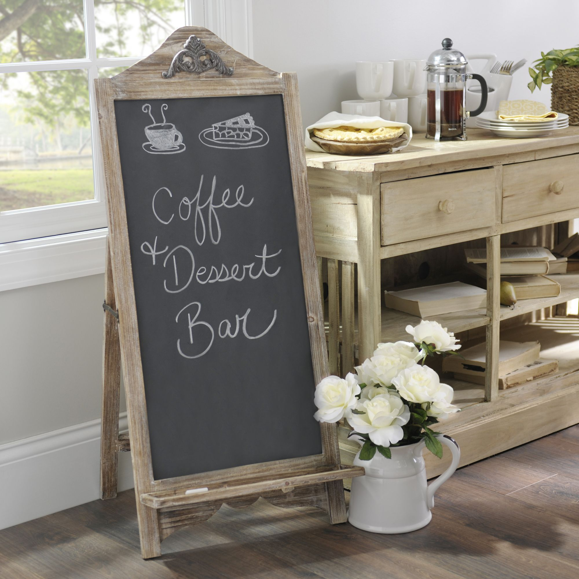 Weathered Natural Chalkboard Easel | Chalkboard easel ... on Easel Decorating Ideas  id=65735