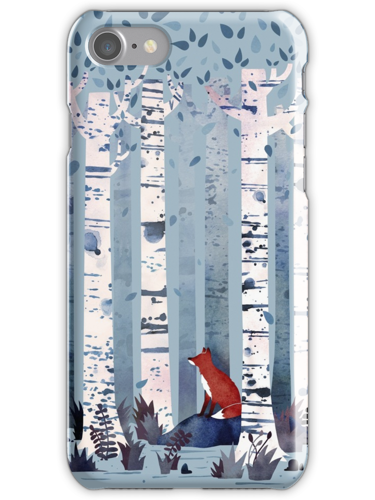 'The Birches (in Blue)' iPhone Case by littleclyde