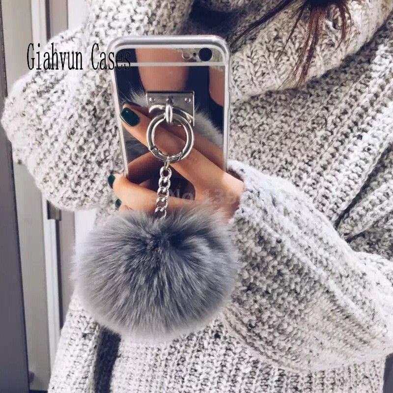 Metal Rope Mirror Tassel soft fluffy warm Fake Rabbit Fur