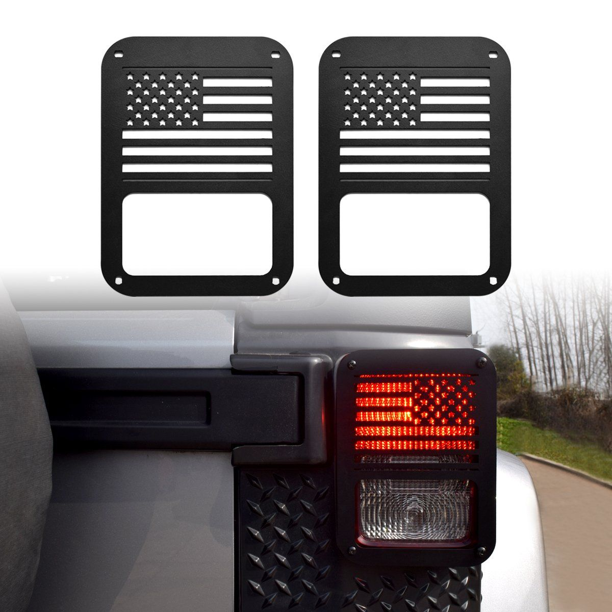 IParts American US Flag Black Taillight Light Guard Cover