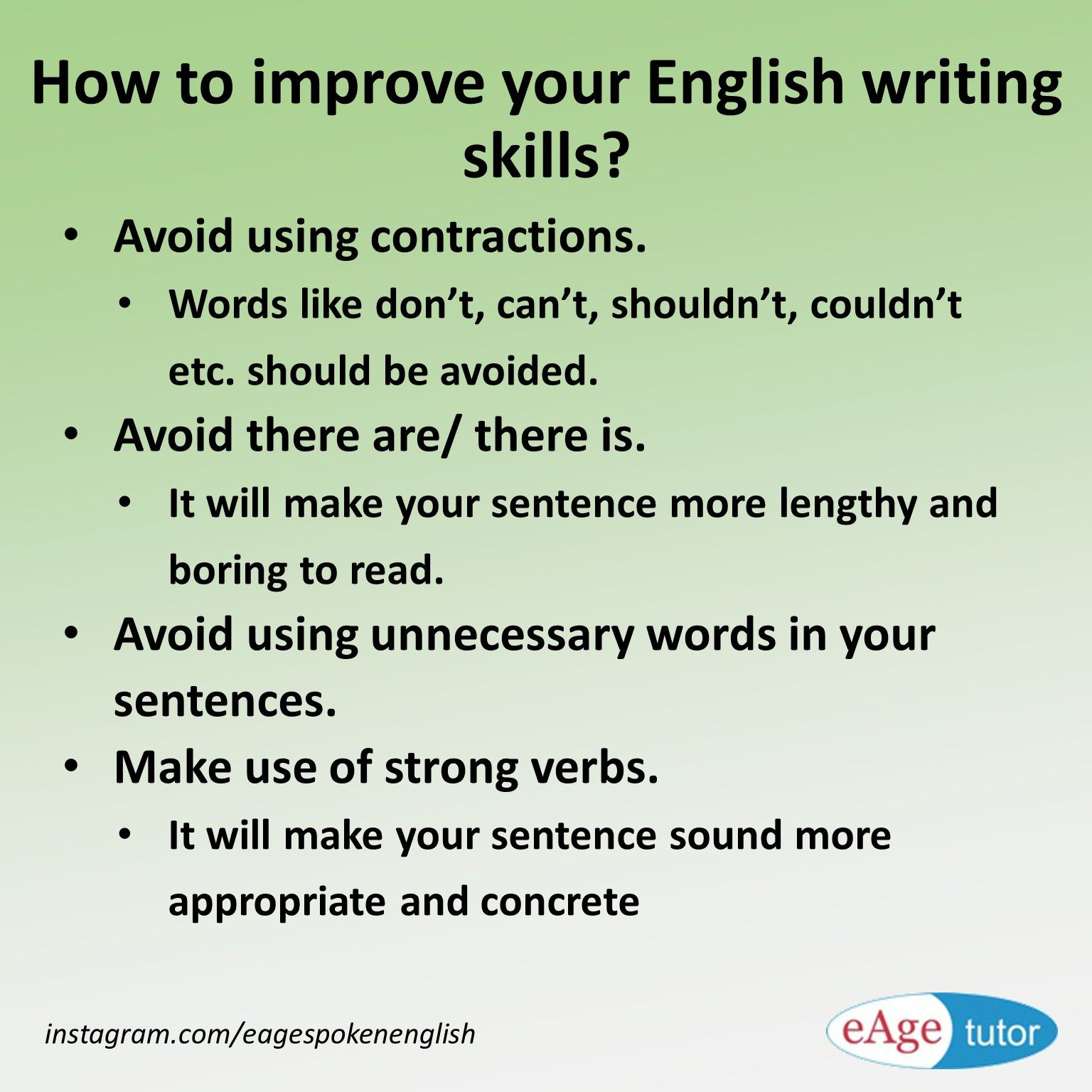 how to learn english writing skills