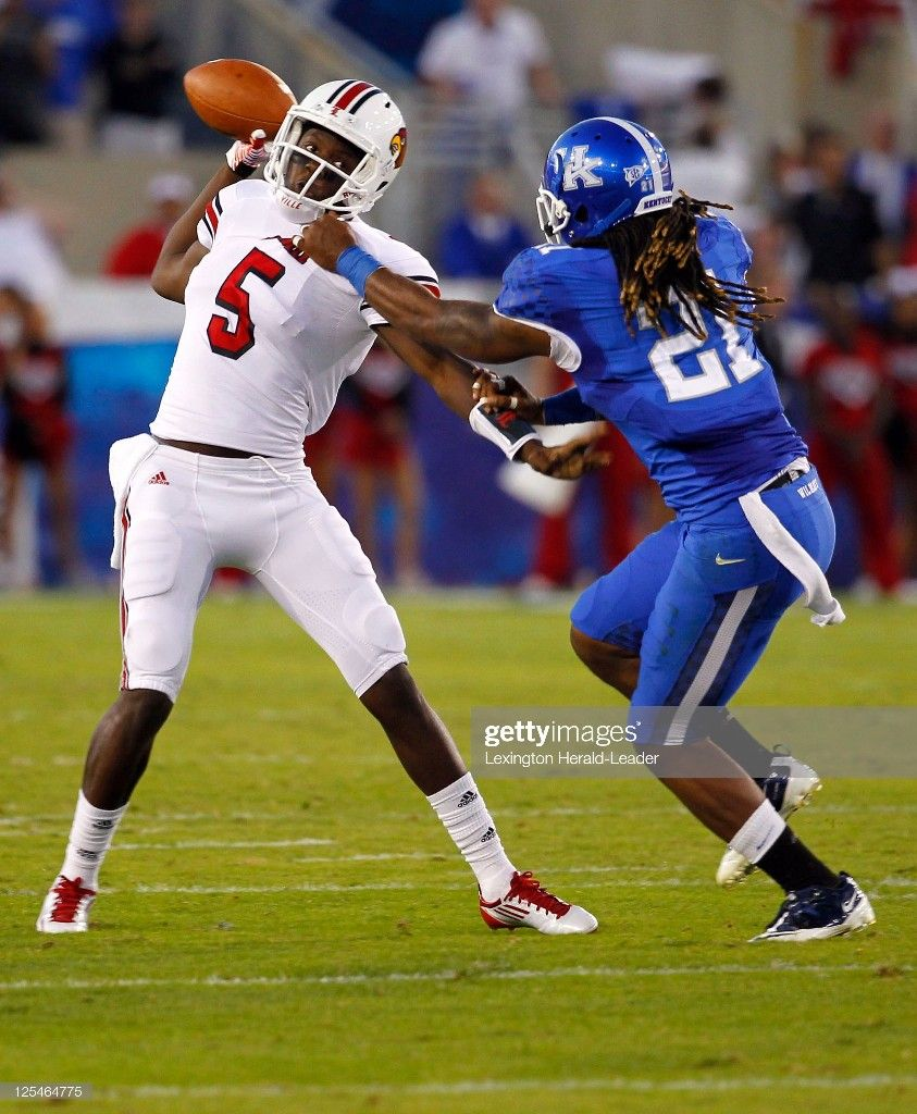 Kentucky safety Winston Guy (21) pulled down Louisville
