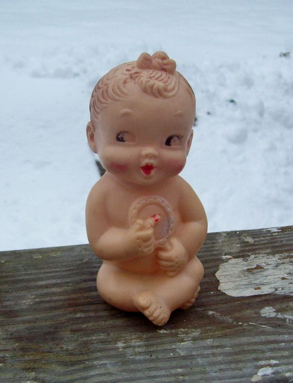 Vintage 1958 Rubber Squeaky Baby Doll Baby Joy Co. Italy | Rubber ...
