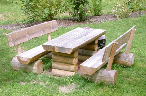 I Love The Benches And Table! Great For Back Yard Bbqu0027s :) Log Furniture