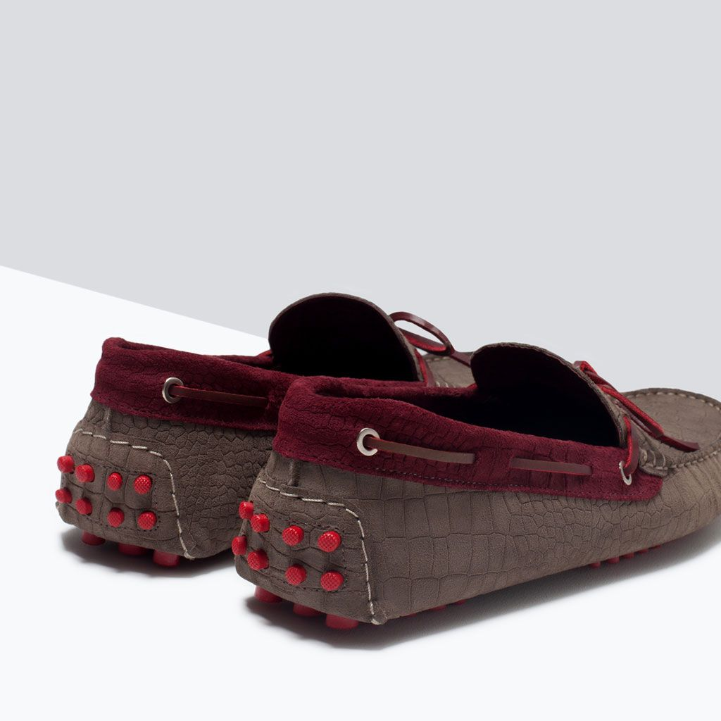 Image 4 of mock croc leather driver shoes with contrasting