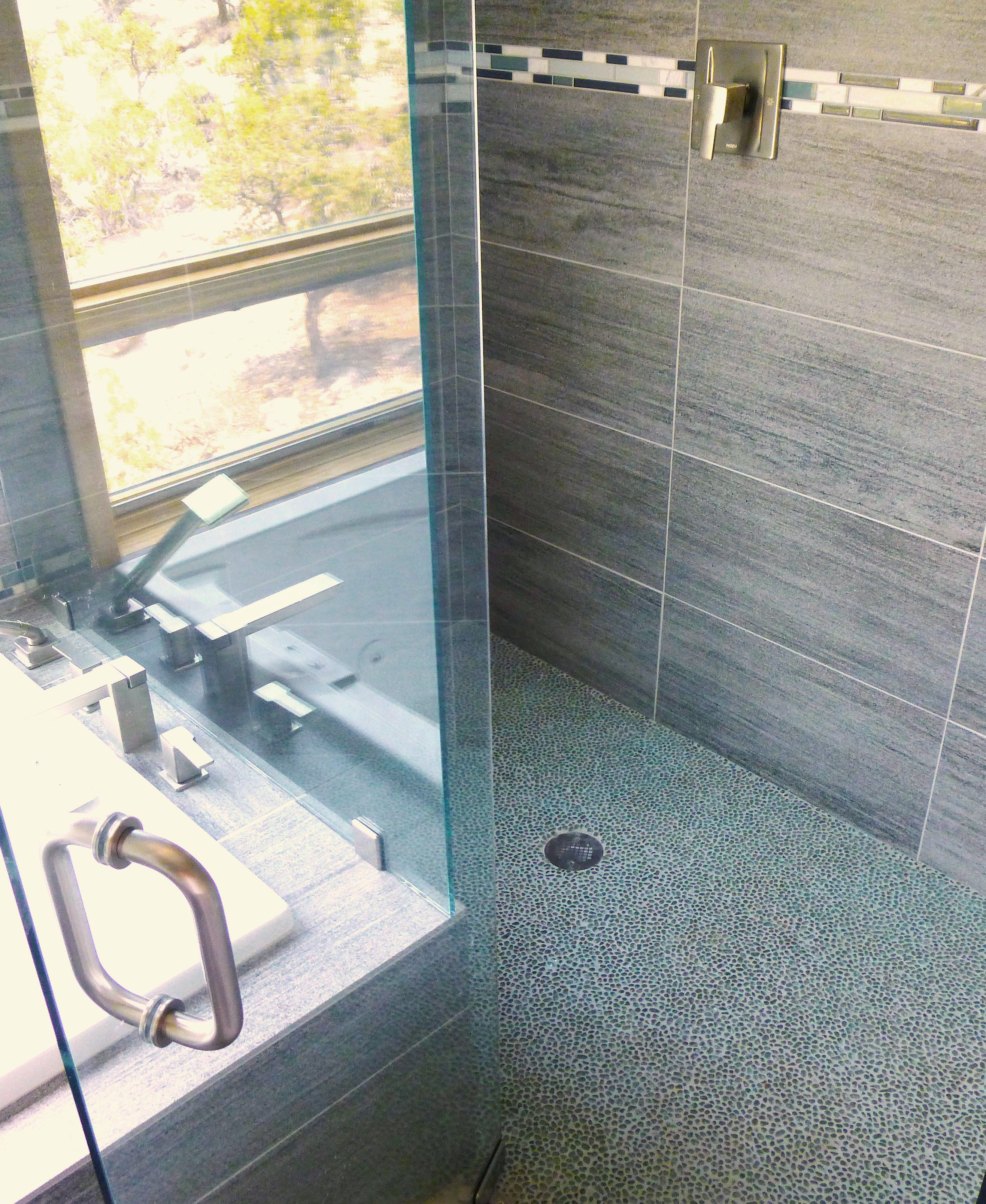 ModRocks 100% recycled pebble mosaics make a wonderful shower floor ...