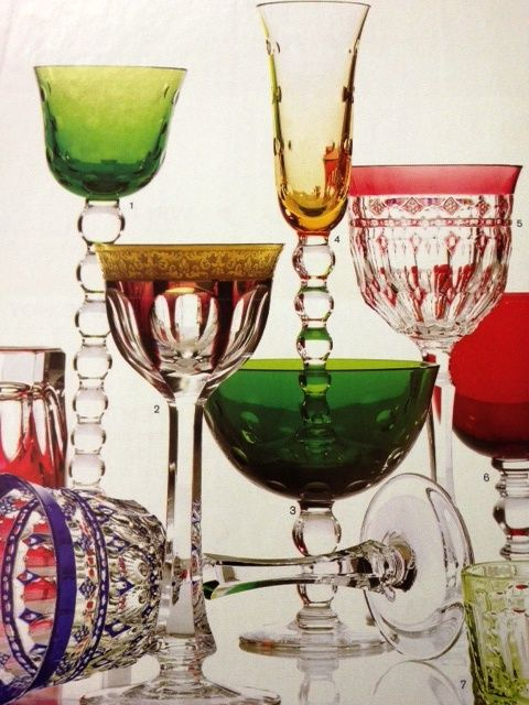 All of my favorite Glasses: St. Louis - Moser Glass - Varga Art Crystal - William Yeoward Crystal - Scully & Scully