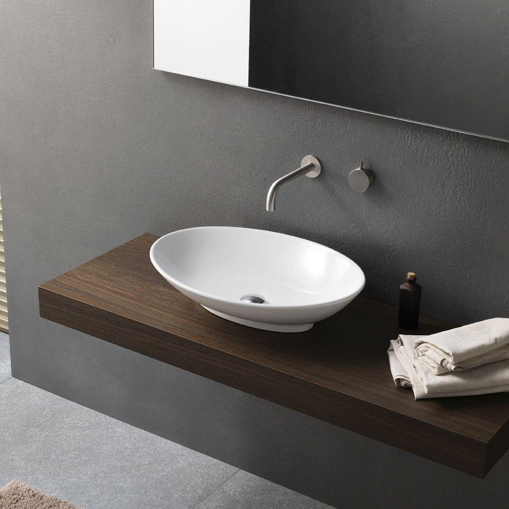 Lavabo Salle De Bain Ovale ~ lavabo da appoggio in ceramica ovale design moderno novello