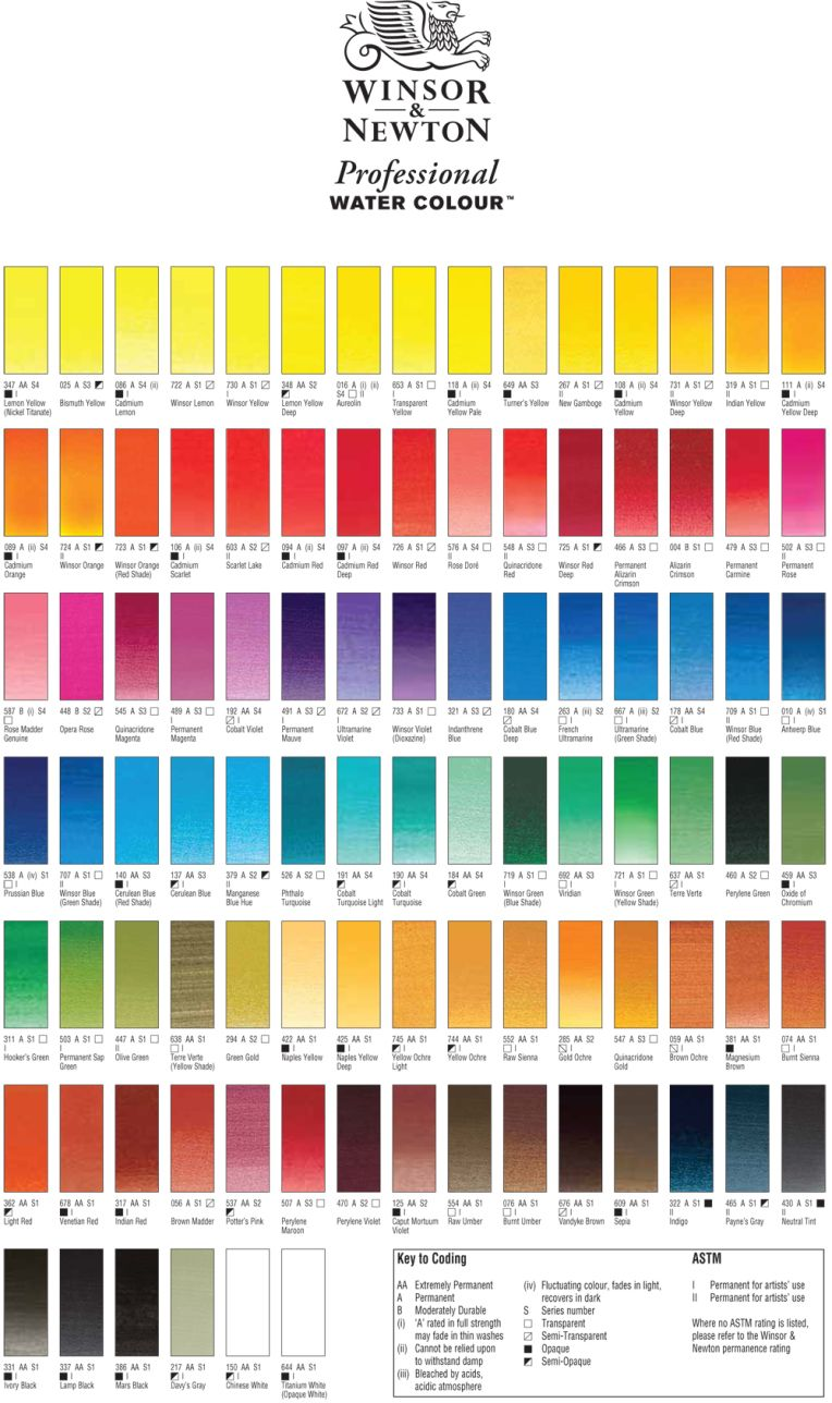 Winsor Newton Professional Watercolour 37ml Tubes Series 4