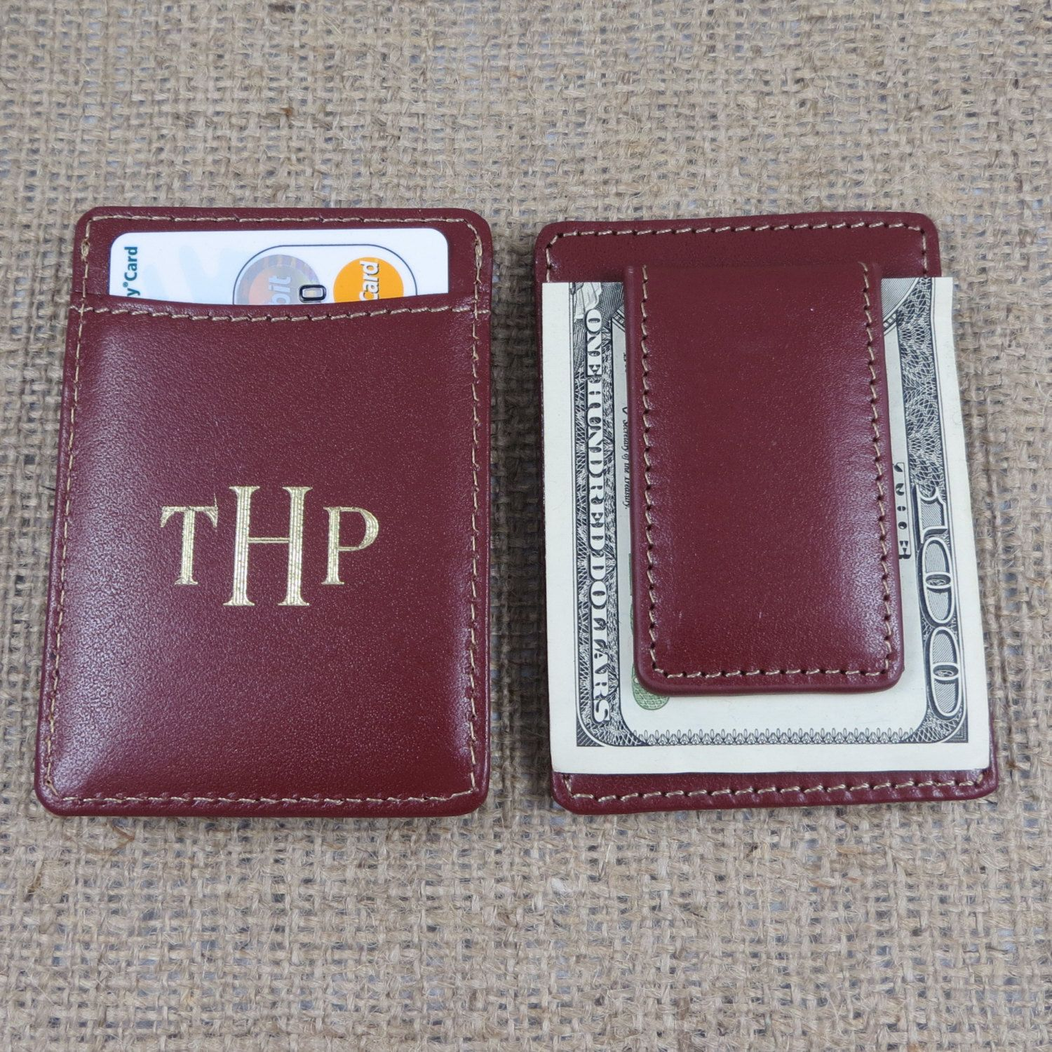 Leather Wallet w/ Money Clip Monogrammed, Gifts for Him ...