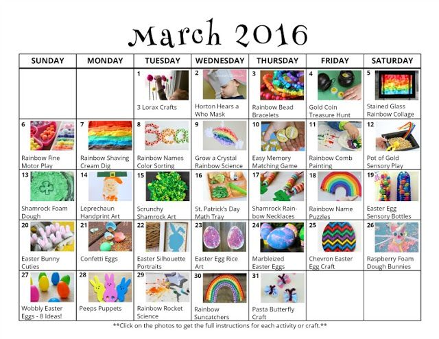 31 March Activities for Kids {Free Activity Calendar} Activities - activity calendar