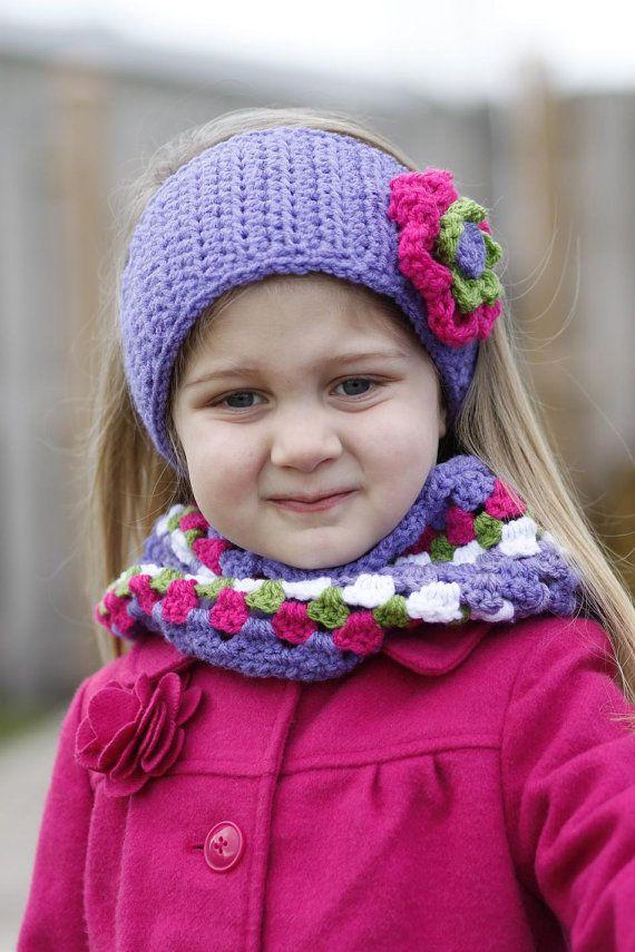 Children's Size Ear Warmer Headband and by AllThingsGranny on Etsy   Baby knitting. Ear warmer headband. Crocheted item