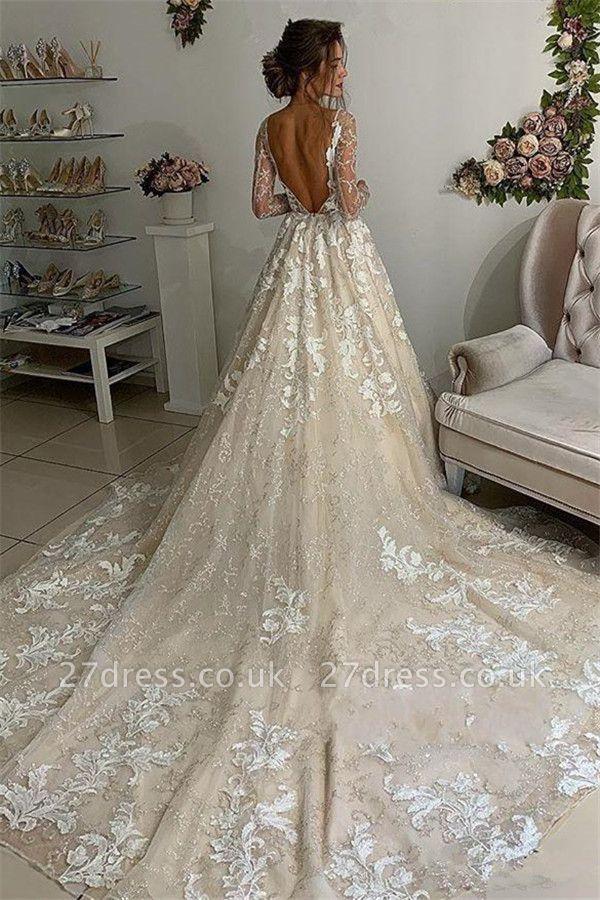 Elegant Lace Appliques VNeck Wedding Dresses UK Sheer
