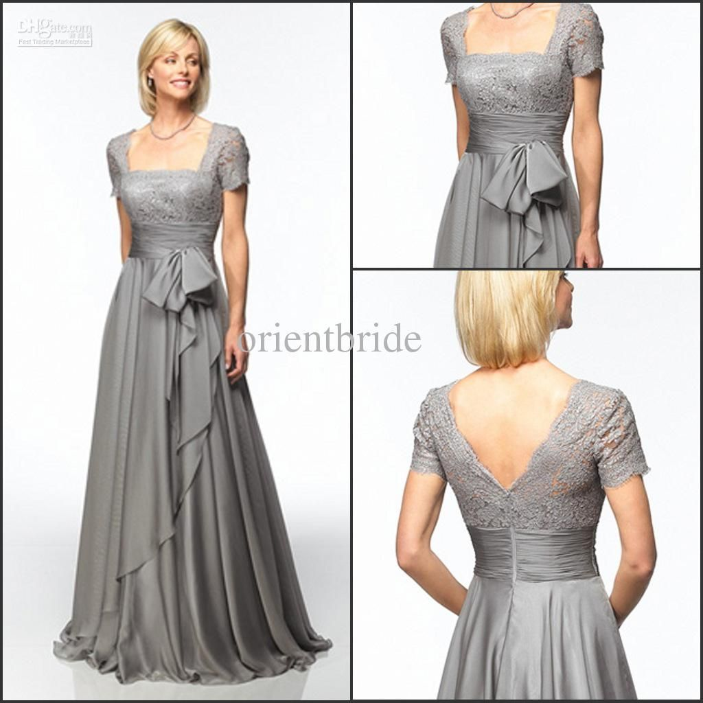 Hot Sale Short Sleeves Lace Ruched Bow A-line Floor Length Silver ...