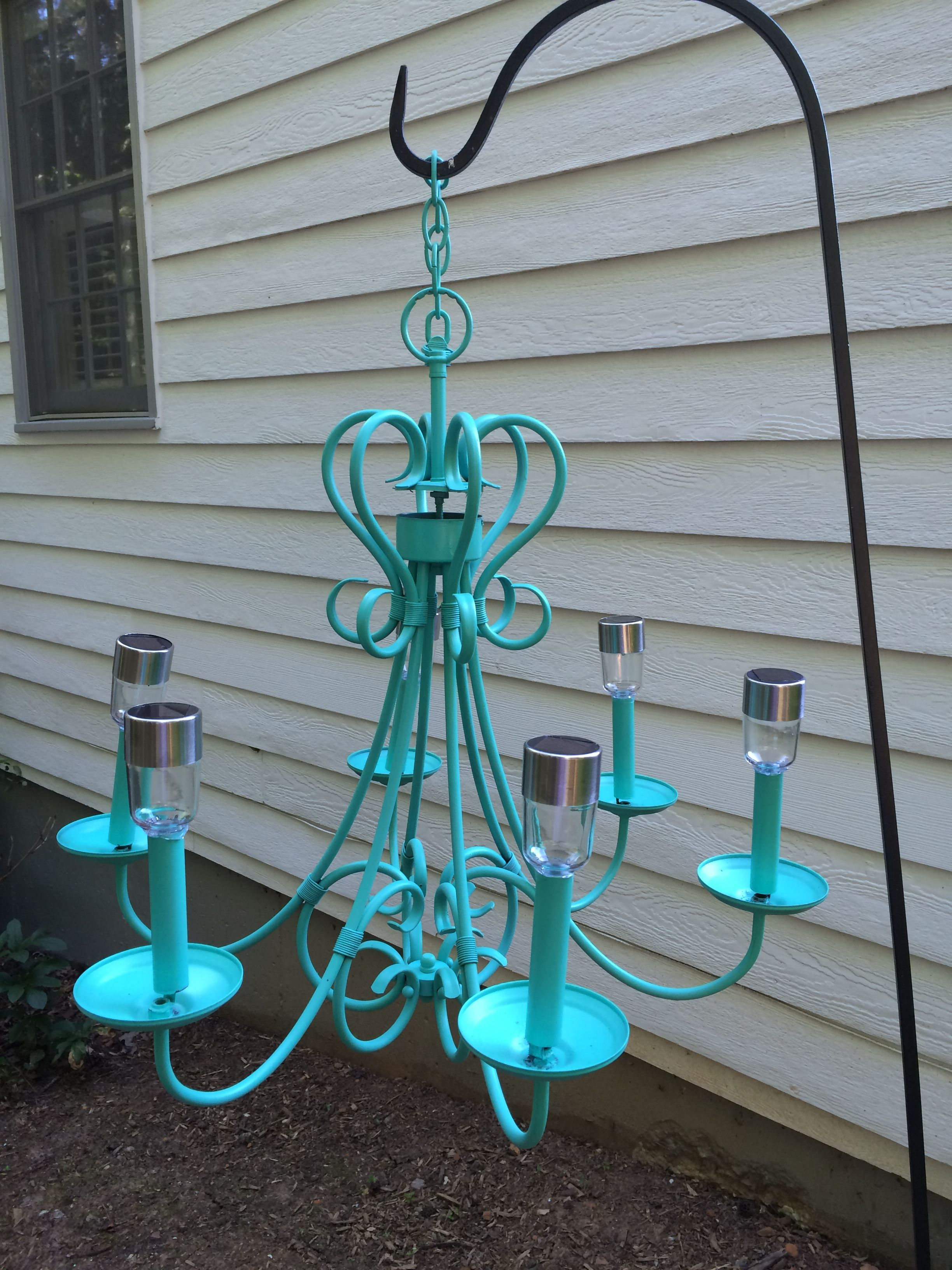 Outdoor Solar Chandelier Bought An Old Rusty Antique Store Chandelier And Repainted Glued In The Tops Of So Cheap Solar Lights Solar Chandelier Solar Lights