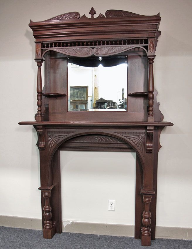 Victorian fireplace mantel with mirror victorian for Fireplace mirrors
