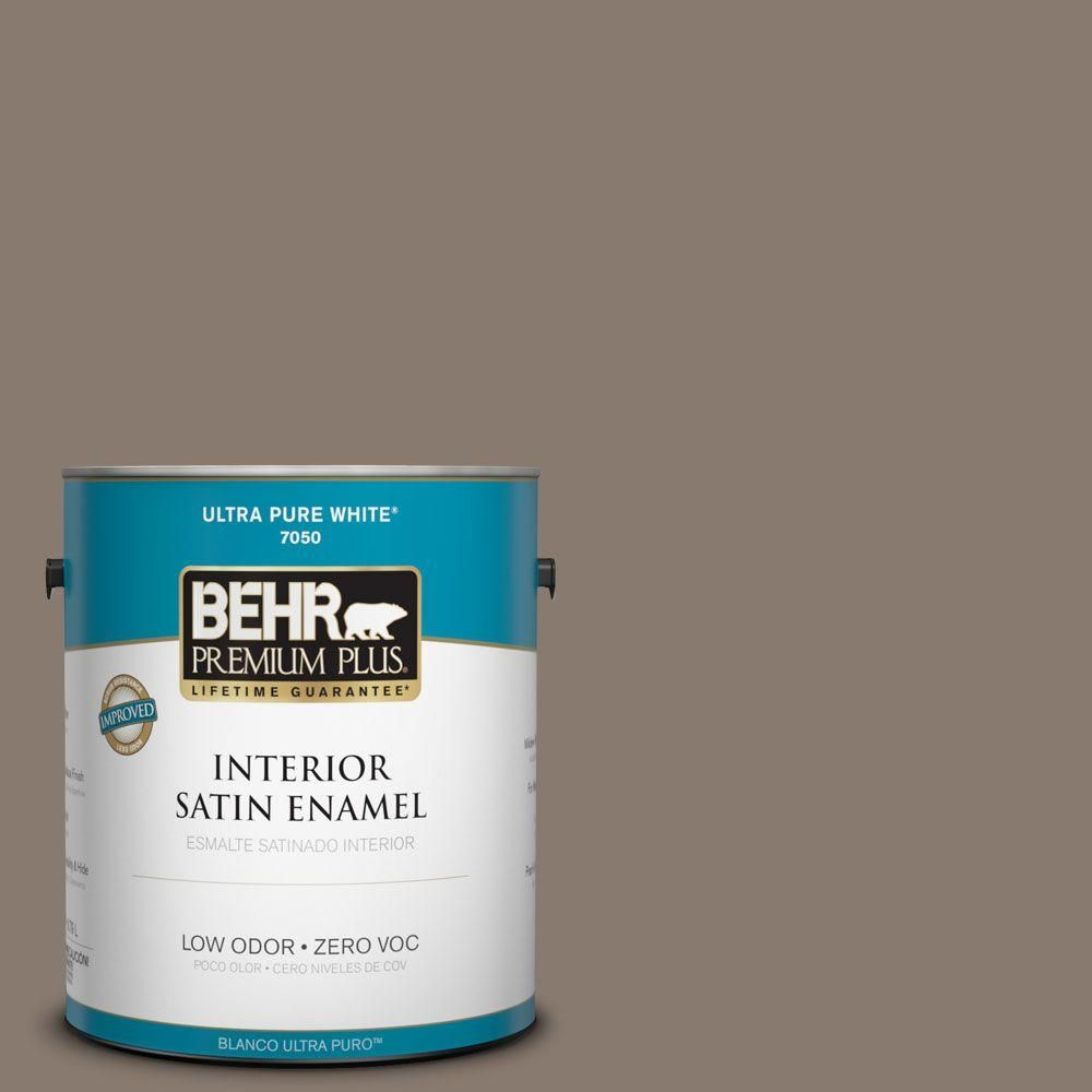 BEHR Premium Plus 1-gal. #ecc-15-1 Lost Summit Zero VOC Satin Enamel Interior Paint